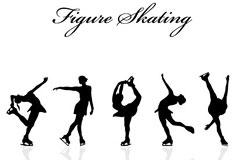 一组优美的女性滑冰动作剪影矢量素材下载