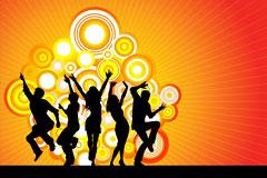 EPS格式矢量潮流舞蹈人物剪影素