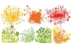 七款流行彩色矢量花纹