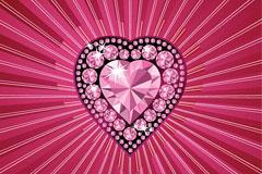 三款不同风格的立体水晶钻石心形矢量素材