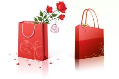 两款手提袋和心形EPS素材