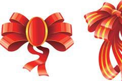 三款红色节日丝带矢量素材