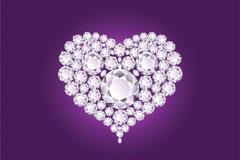 两款时尚钻石心形吊坠矢量素材