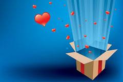 箱子释放红色爱心光芒矢量素材