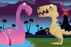 2款可爱的卡通恐龙的矢量齐乐娱乐