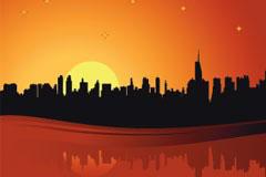 黄昏时的城市剪影矢量素材