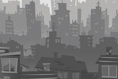 一款灰色城市建筑剪影矢量素材