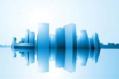 城市建筑蓝色倒影矢量素材