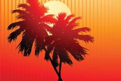 落日下的椰子树剪影矢量素材