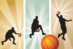 超酷篮球动作剪影矢量素材