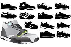 各种款式运动鞋矢量素材