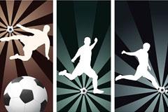 一组超酷足球动作剪影矢量素材