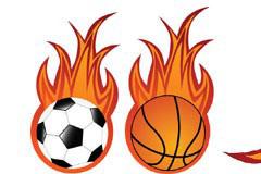 两款比较简单的矢量火焰足球和篮球素材