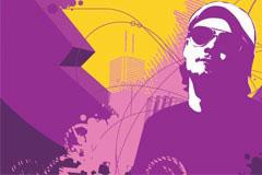 紫色调男子与城市建筑矢量素材