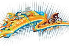一款动感十足的自行车运动主题矢量素材