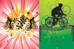 3款不同风格的自行车运动剪影矢量素材