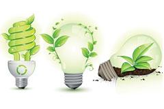 一组环保主题的绿叶与灯泡矢量素材