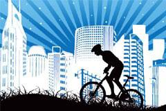 一款都市题材自行车运动剪影矢量