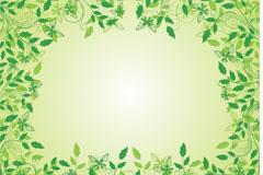 一款漂亮的绿叶花边矢量素材