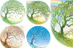 水晶球里的四季树矢量素材