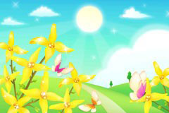 金色花卉与蝴蝶郊外风光矢量素材