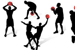 一组篮球动作人物剪影矢量素材