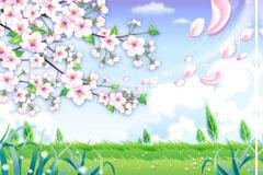 桃花盛开的郊外风光矢量素材
