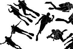 一组潜水运动人物剪影矢量素材