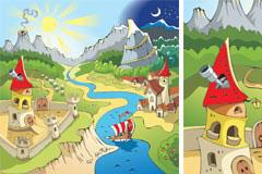 一款充满卡通色彩的风景建筑矢量素材