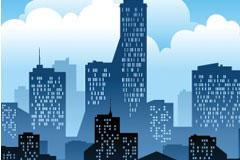一款都市建筑剪影矢量素材