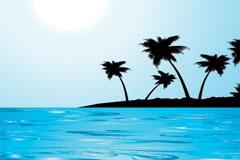 大海中的小岛矢量素材