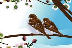 春天两只可爱的小鸟矢量素材