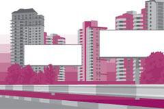 城市建筑与广告牌矢量素材