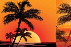 2款日落时的海边风光矢量素材