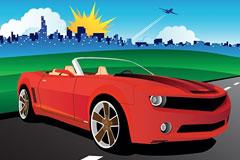 汽车与建筑户外风光矢量素材