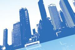 都市题材的蓝色高楼大厦矢量素材