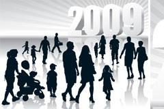 2009人物剪影矢量素材