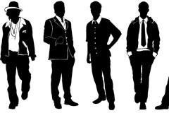 10款不同着装风格的男性模特剪影矢量素材