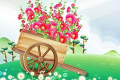 小木车上的花朵矢量素材