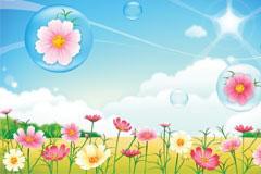 气泡里的花朵郊外风光矢量素材