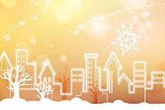 充满梦幻色彩的城市雪景矢量素材