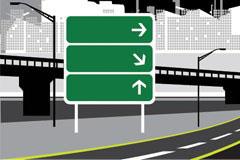 公路和指示牌矢量素材