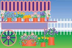 院子里的花风景矢量素材