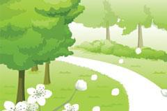 春天的林间小路风景矢量素材
