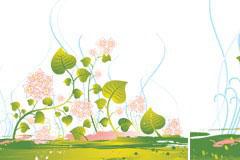 一款绿色开花藤蔓植物矢量素材