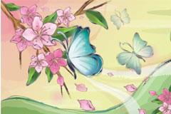 花朵与蝴蝶韩国风格风景矢量素材