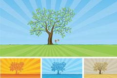 春天的树木和草地矢量素材