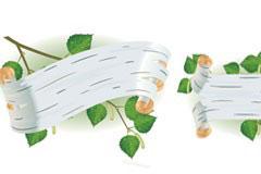 3款不同形状的树叶banner矢量素材