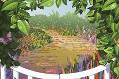 优美的田间小路与植物矢量素材