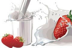 草莓与牛奶矢量素材